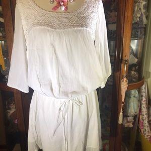 NWT White cotton macrame dress